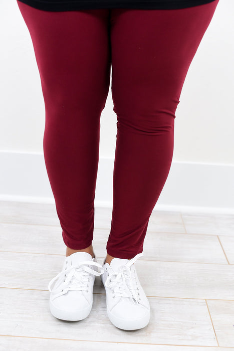 Burgundy Solid Leggings (Sizes 20-26) - LEG1288BU