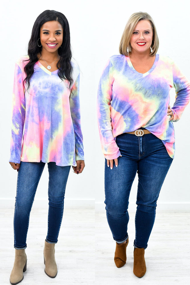 Watching The Clouds Go By Purple/Multi Color Tie Dye V Neck Top - B9461PU