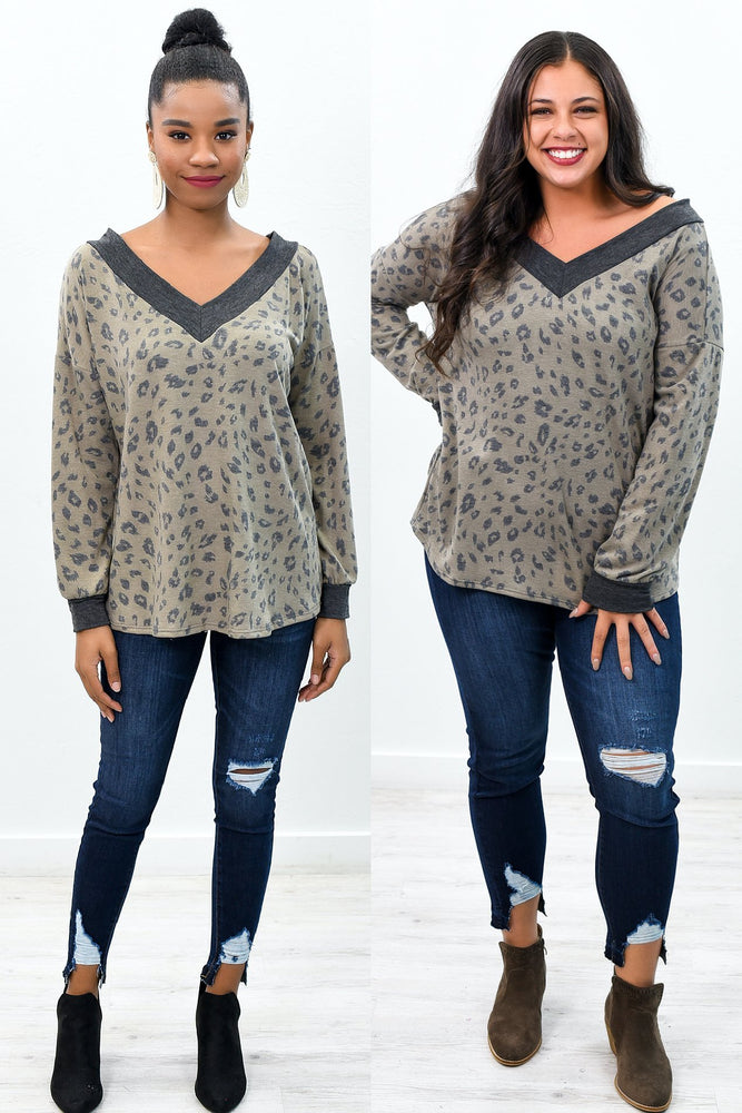 By The Book Mocha Leopard Off The Shoulder Top - B9858MO
