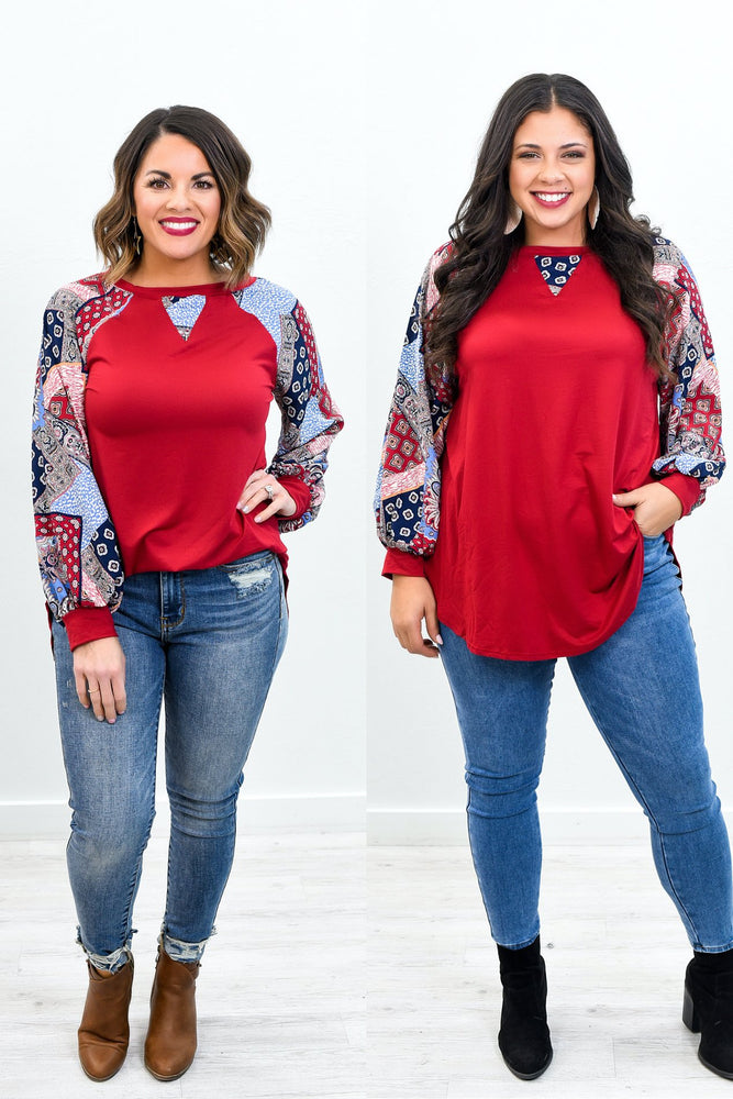 My Wish For You Red/Multi Color Paisley/Multi Pattern Top - B10446RD
