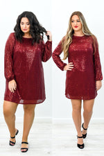Own The Occasion Wine Sequins Long Sleeve Dress - D3587WN