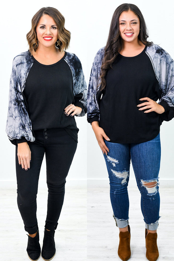 Catch Up Over Coffee Black/Gray Tie Dye Top - B10081BK