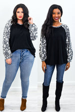 Watching You Closely Black/Gray Leopard Sleeves Top - B9668BK