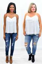 I'll Steal Your Heart White/Holographic Sequins/Lace V Neck Top - B9636WH