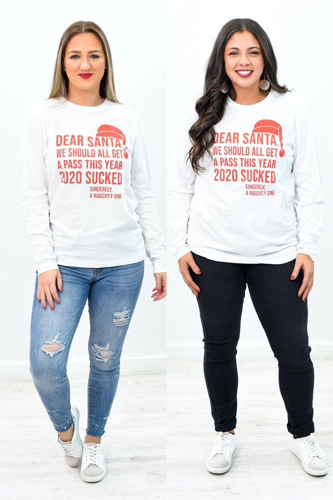 Dear Santa White Long Sleeve Graphic Tee - A980WH