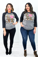 Love Gray/Charcoal Black Leopard/Striped Printed Long Sleeve Graphic Tee - A1059GR