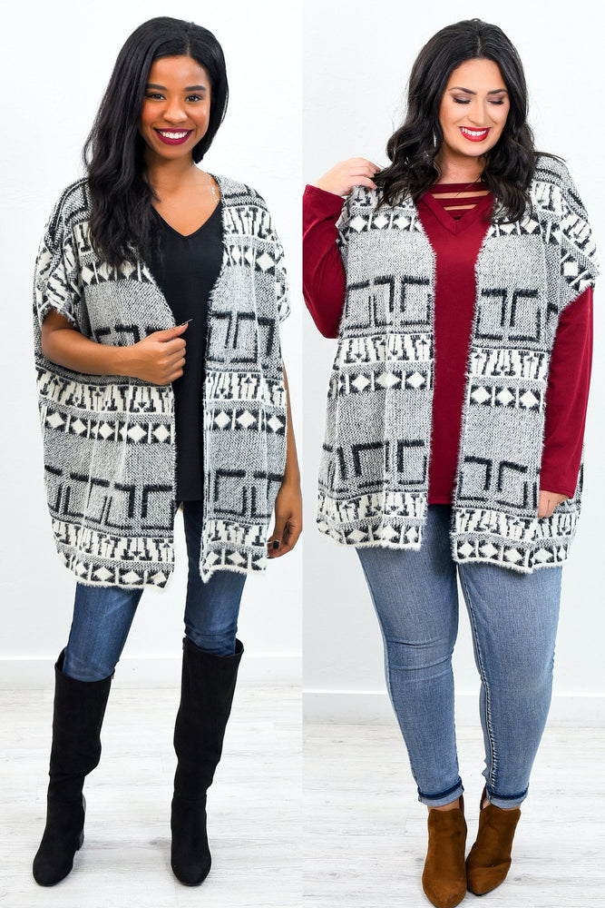 Its An Ideal Time Black/Ivory Aztec Printed Kimono - O2774BK