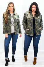 See You There Camouflage/Gold Sequins Jacket - O2790GO