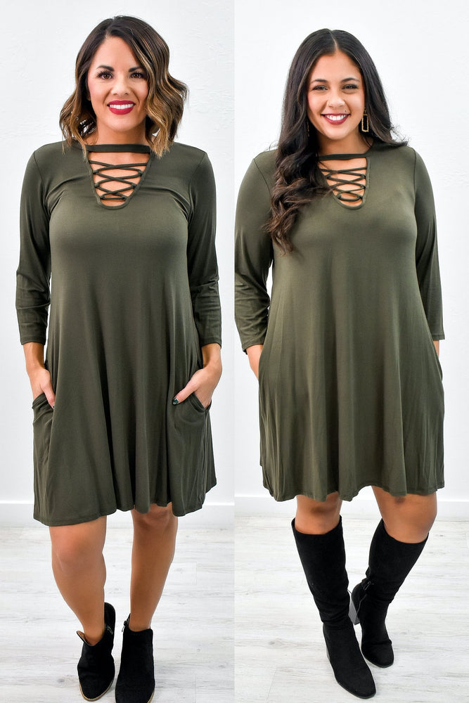 Beauty Within Olive Front Crisscross Dress - D3630OL