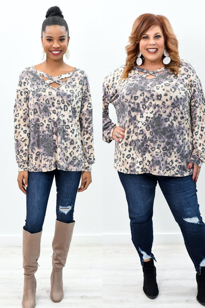 Be A Visionary Mocha/Purple Leopard Crisscross Front Top - B9845MO