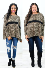 Sleek Socialite Brown/Black Leopard Top - B10147BR