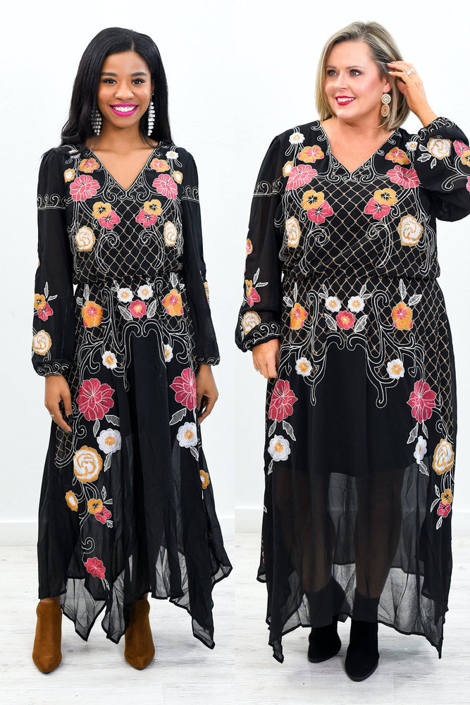 Dancing In The Dark Black/Multi Color Embroidered Maxi Dress - D3593BK