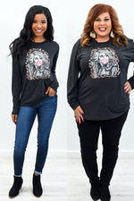 Dolly Vintage Black Long Sleeve Graphic Tee - A878VBK