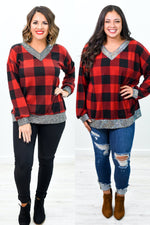 Apple Spice Wishes Red/Black Checkered V Neck Top - B10078RD
