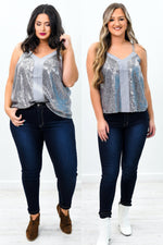 My Time To Shine Silver Sequins V Neck Top - B9522SI