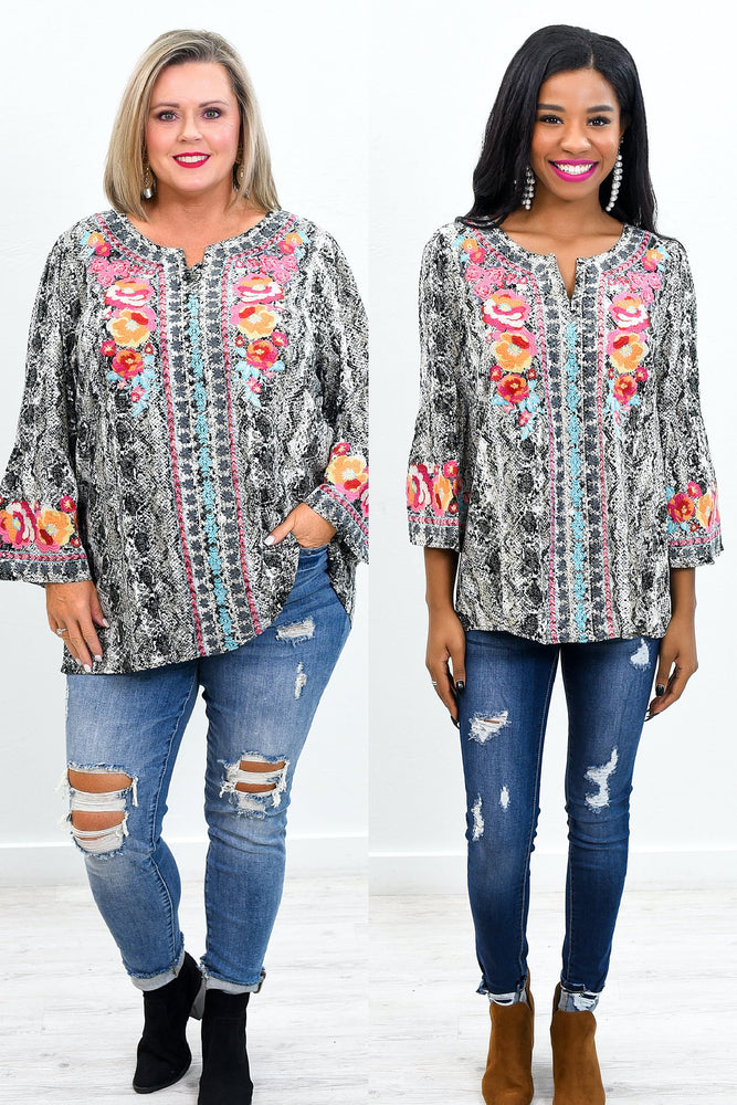 Snaking Away Gray/Multi Color Snakeskin/Embroidered Top - B9631GR