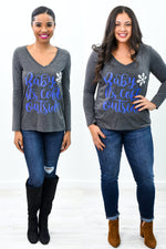 Baby It's Cold Outside Dark Gray V Neck Graphic Tee - A950DGR