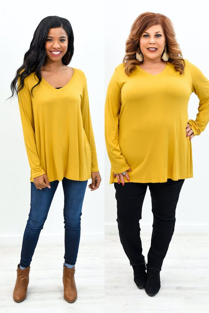 Our Best Years Are Yet To Come Mustard V Neck Long Sleeve Top - B9744MS