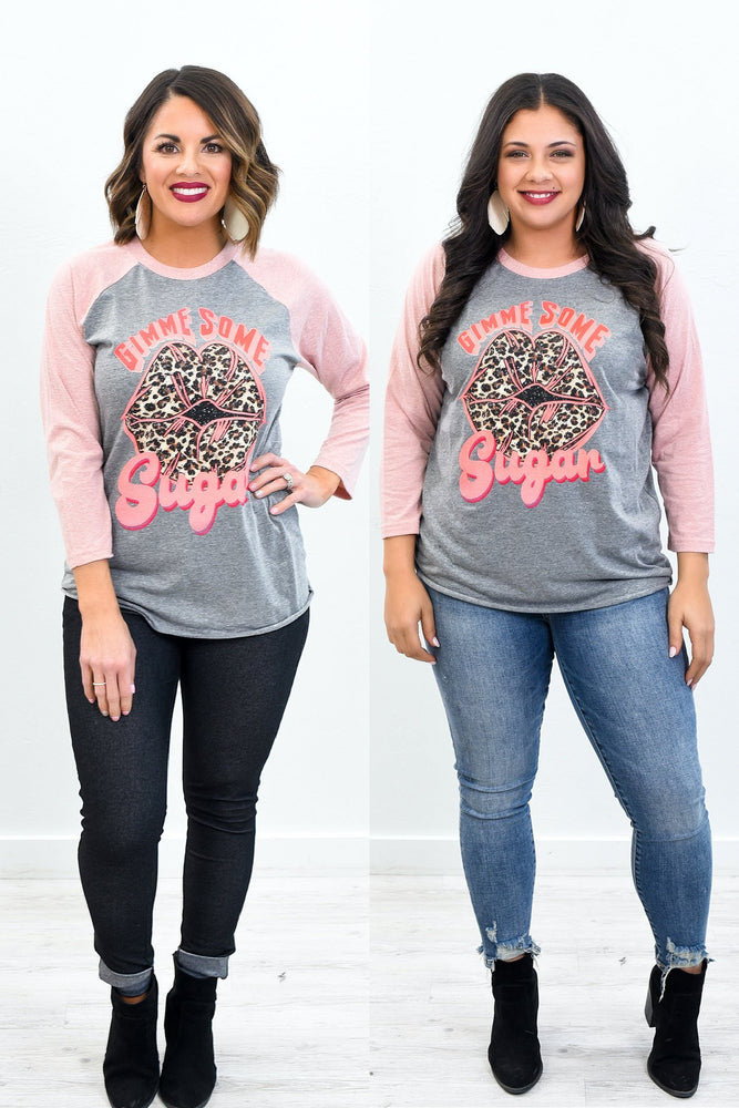 Gimme Some Sugar Desert Pink Long Sleeve Graphic Tee - A1077DPK