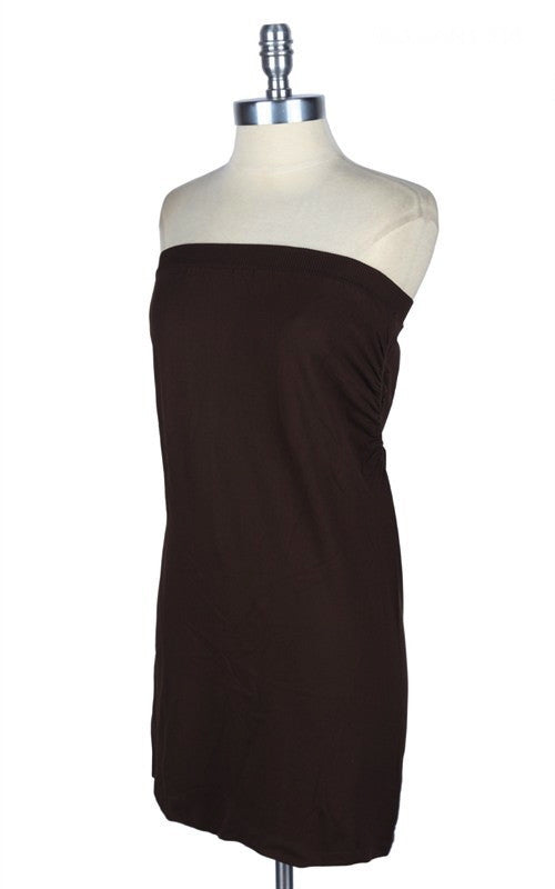 Brown tube seamless ruched slip dress (sizes 12-18) - slp065br-Tee for the Soul