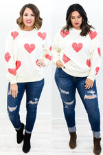 Love Without Limits Cream/Red Heart Printed Top - B10523CR