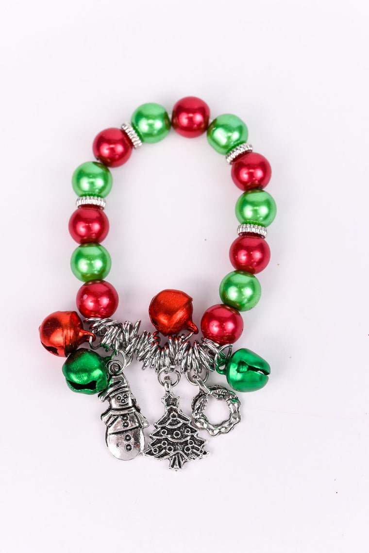 Silver/Red/Green Charm/Bells Stretch Bracelet - BRC2323SI