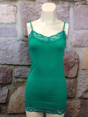 Lace Tunic Cami - Green - CAM191GN