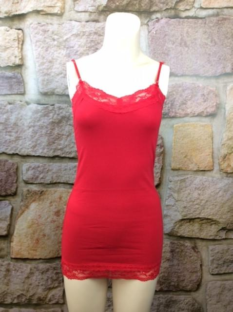 Lace Tunic Cami - Red - CAM191RD-Tee for the Soul