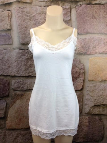 White Lace Tunic Cami (Sizes 12-18) - CAM380WH