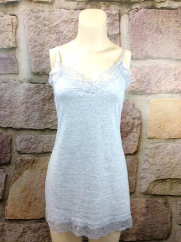 Heather Gray Lace Tunic Cami (Sizes 12-18) - CAM380HG