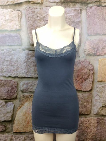 Lace Tunic Cami - Gray - CAM191GR