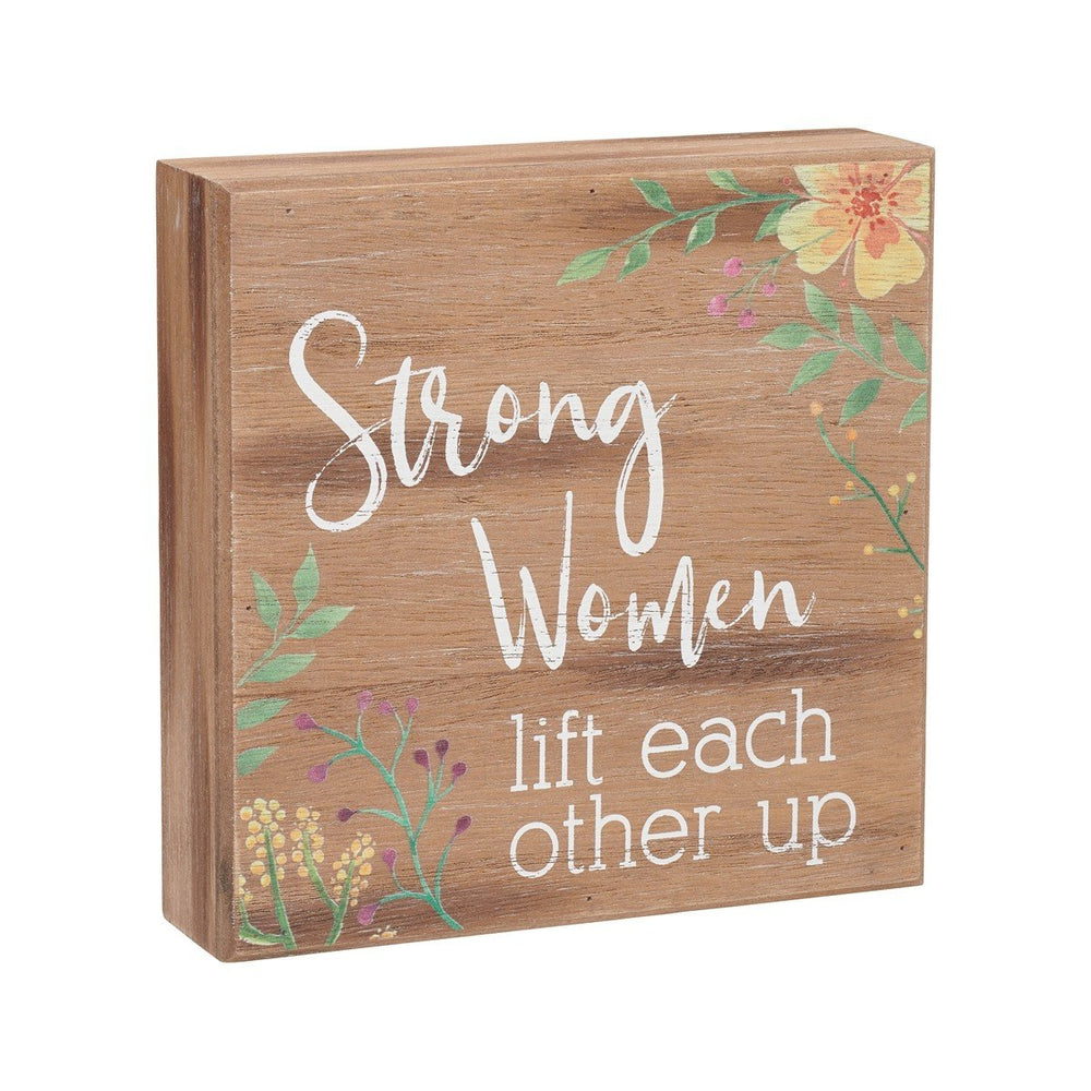 Lift Each Other Brown/Floral Box Sign - SGN140BR