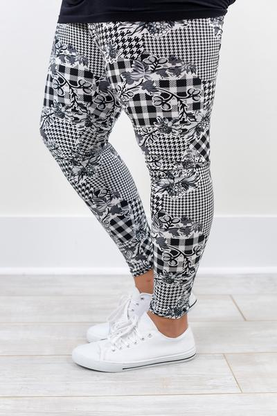 White/Black Floral Printed Leggings (Sizes 20-26) - LEG1319WH