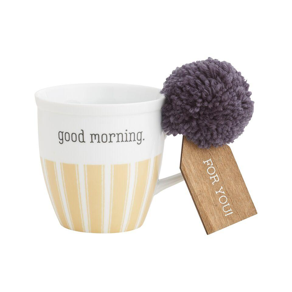 Good Morning White Coffee Mug With Pom - MUG112WH