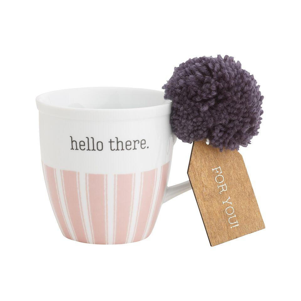 Hello There White Coffee Mug With Pom - MUG113WH