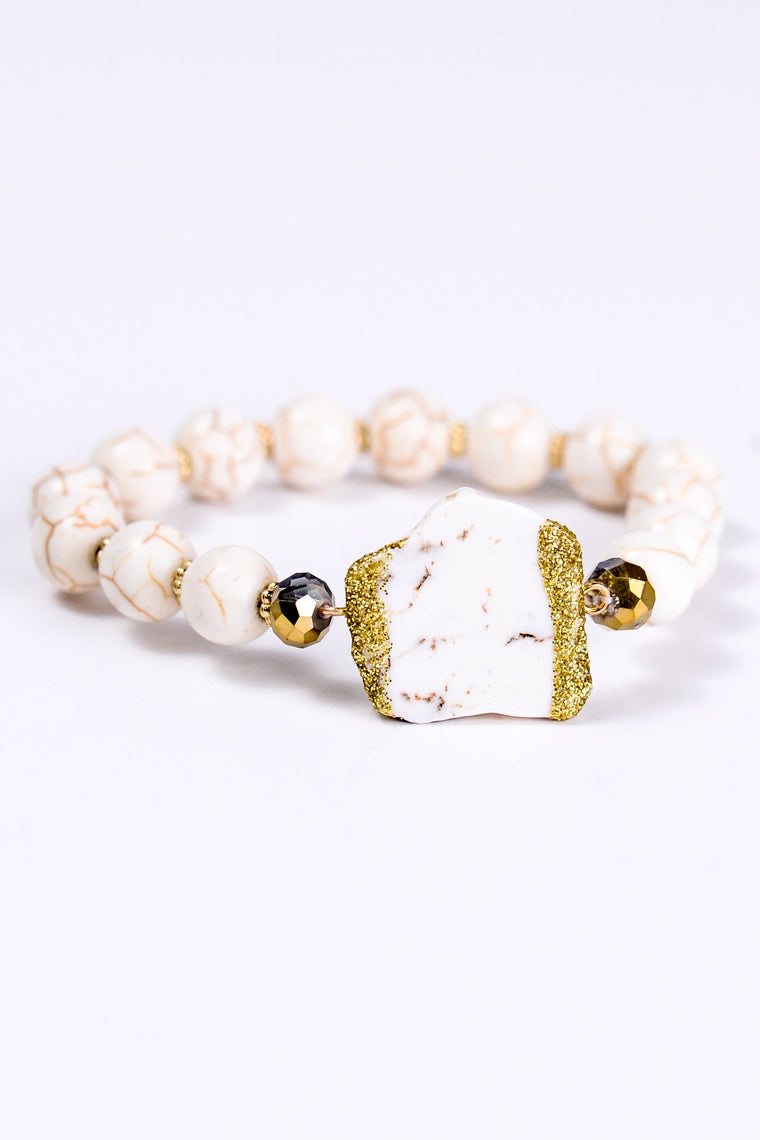 Cream Stretch Bracelet With Nugget - BRC1086CR