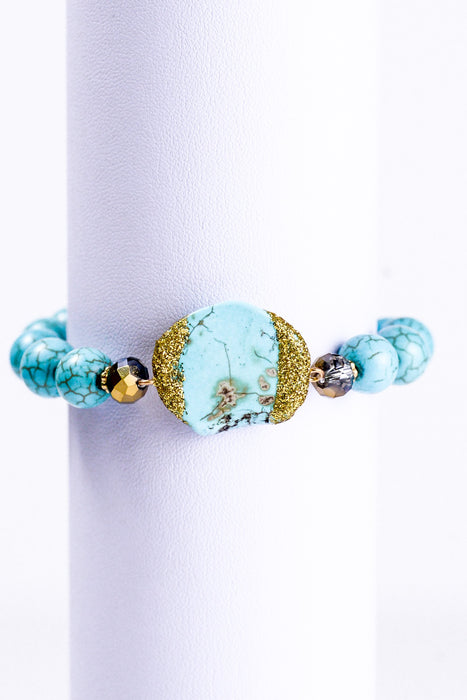Turquoise Stretch Bracelet With Nugget - BRC1089TU