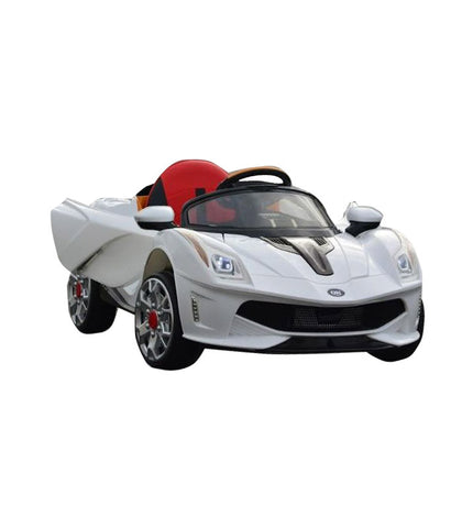 Ferrari Inspired Kid's Electric Ride-In Car w/ LED Lights & Remote Control (White) - myhoverboardscooter.com - 1