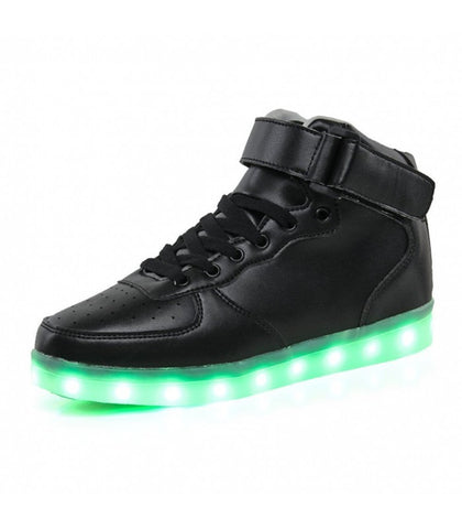Glidekicks Air Force W - High-Top LED Sneakers - Light Up USB Shoes- Luminous Soles w/ Straps & Laces for Women (Black) - myhoverboardscooter.com - 1