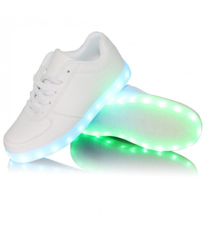 Glidekicks Force W - Low-Top LED Sneakers - Light Up USB Shoes- Luminous Soles w/ Laces for Women (White) - myhoverboardscooter.com - 1