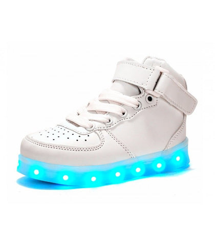 Glidekicks Air Force BKJ - High-Top LED Sneaker - Light Up USB Shoes- Luminous Soles w/ Straps & Laces for Big Kids & Juniors (White) - myhoverboardscooter.com - 1