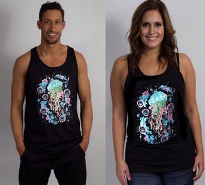 Black Hyph Jelly- Glow in the Dark UNISEX TANK includes FREE LED MINI BLACK LIGHT