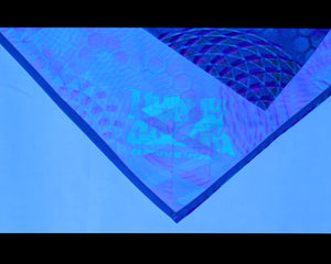 Hyphy Bandana Blue Fractals- Inside corner GLOWS includes FREE Blacklight keychain