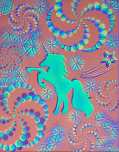 "Hyphy Unicorn Glow in the Dark Original Canvas 11x14"" INCLUDES FREE Purple Laser Pointer w/ Starry Tip"