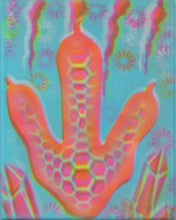 "Hyphy Dino 2 Glow in the Dark Original Canvas 8x10"" INCLUDES (1) FREE Purple Laser Pointer w/ Starry Tip"