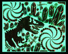 "Glow in the Dark Art Print #11 Small Hyphy Dino 9.5x12"" includes free mini black light!!"