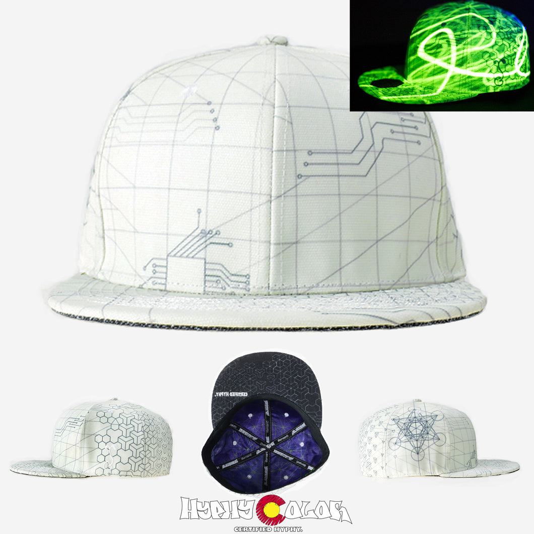 Now Available!!!  Grassroots California x Hyphy Color VERSION 1 WHITE Glow in the Dark SNAPBACK Hats!!!! Includes FREE LED Blacklight