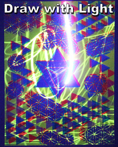 "Glow in the Dark Art Print #2 Small Triangles on triangles 9.5x12"" Includes free mini blacklight!!"