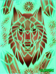 "Hyphy Geometric Wolf 2 Glow in the Dark Original Canvas 8x10"" INCLUDES (1) FREE Purple Laser Pointer w/ Starry Tip"