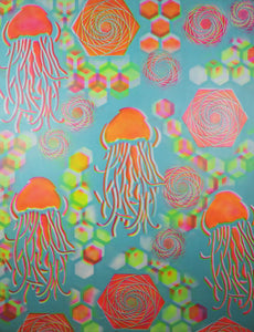 "Mega-Hyphy Jelly Fish BlueGlow/Pink/Yellow 48""x 36"" Over sized painting includes FREE SOUND ACTIVATED Laser Projector!"